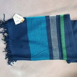 Oversized soft Navy striped scarf